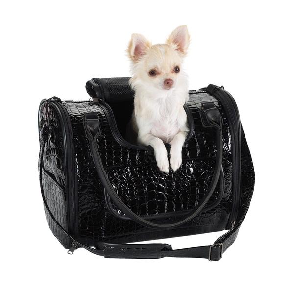 Zack & Zoey Black Croco Pet Carrier