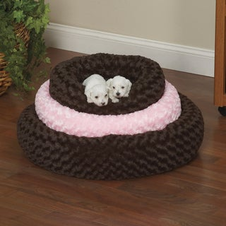 Slumber Pet Chocolate Brown or Pink Swirl Plush Donut Bed