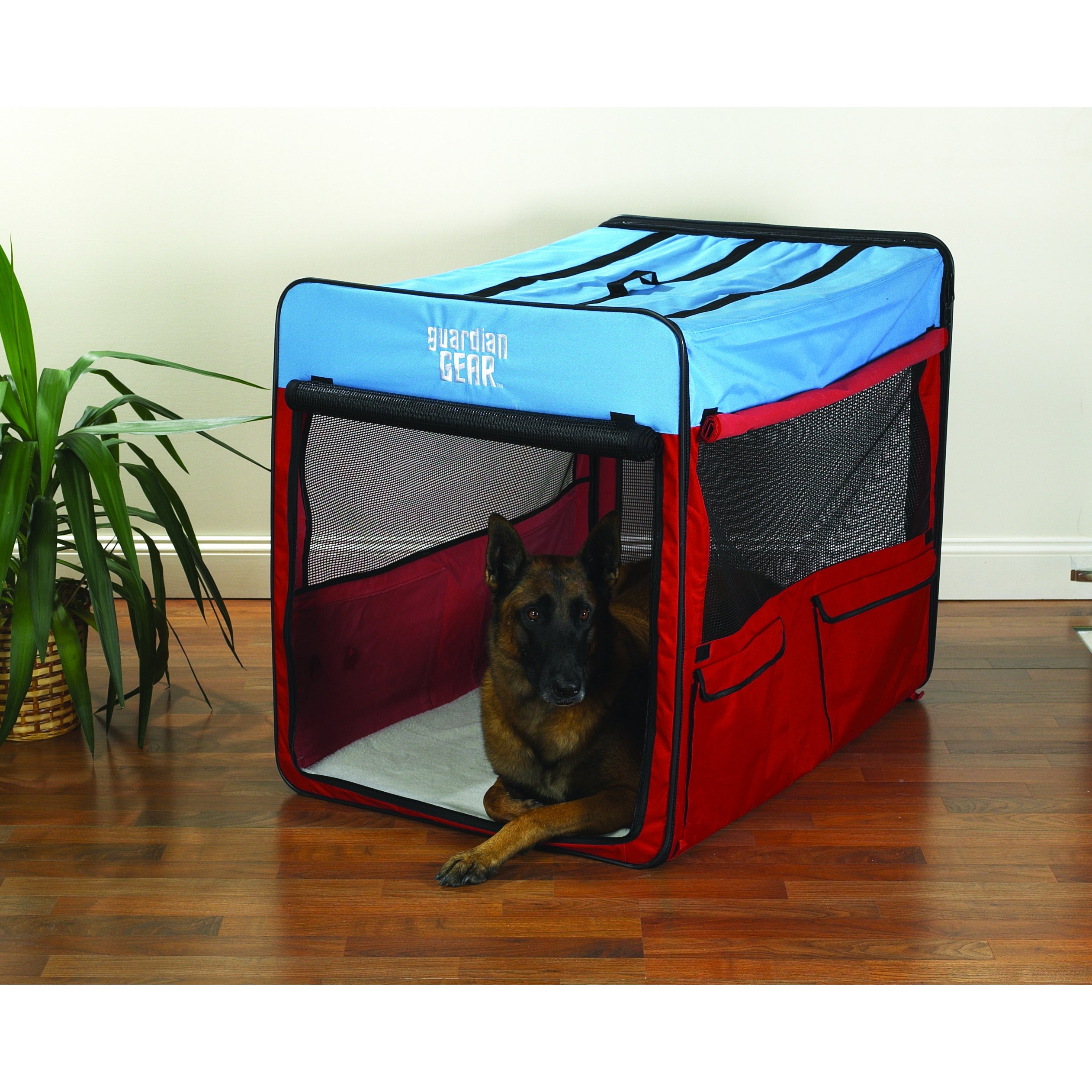Guardian Gear Red/ Blue Extra-large Collapsible Dog Crate...