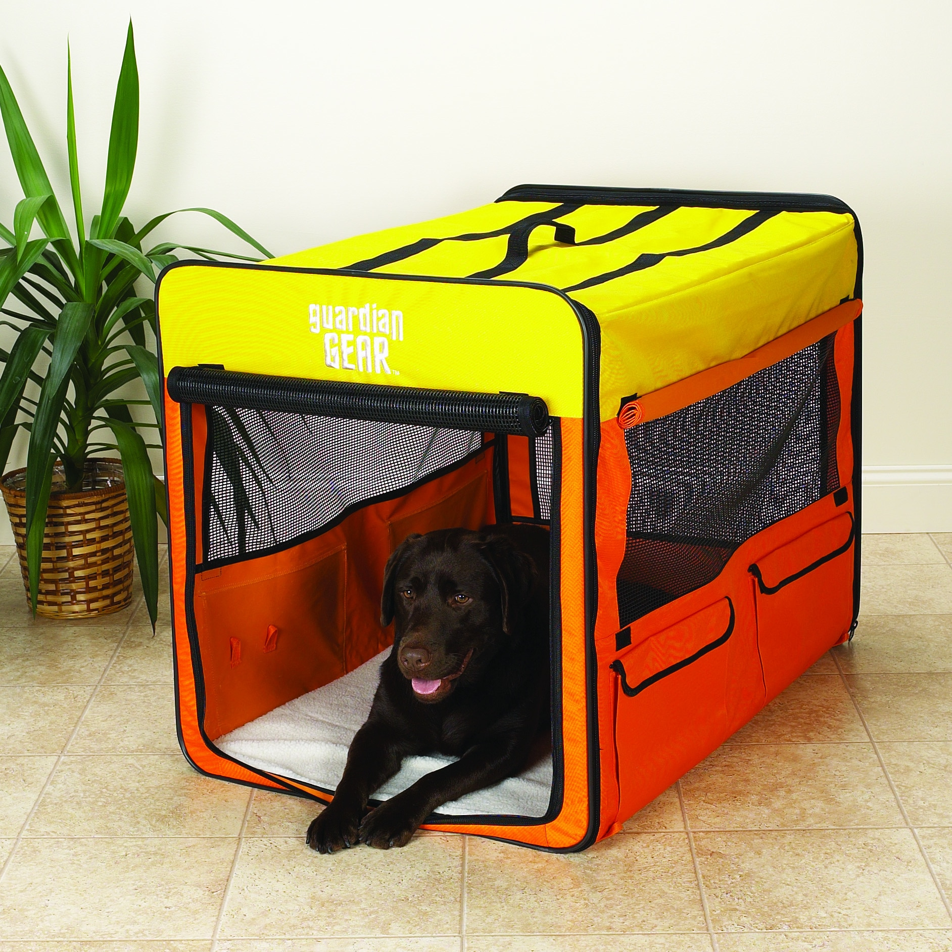 Guardian Gear Orange/ Yellow Large Collapsible Dog Crate ...
