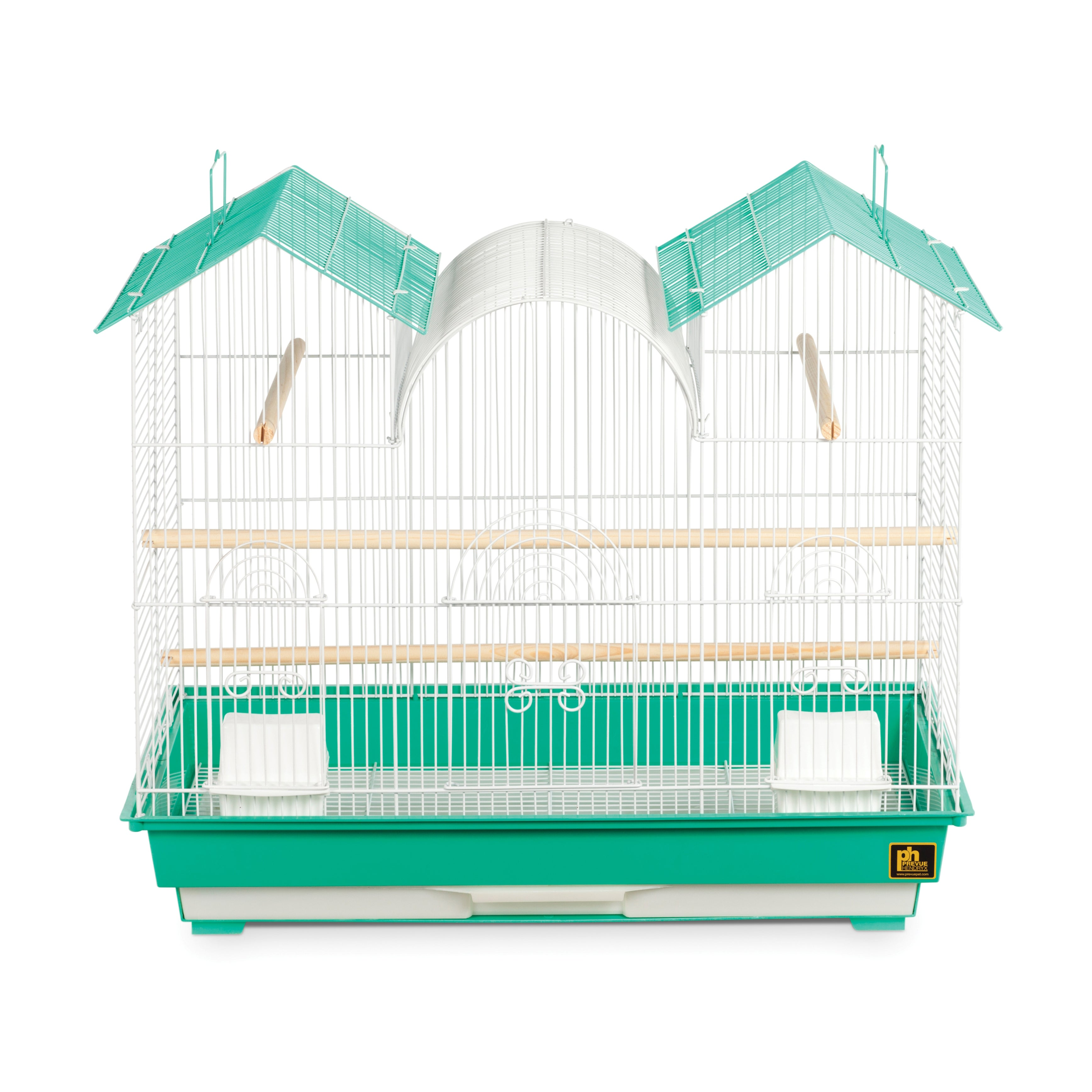 Prevue Pet Products Triple Roof Teal and White Bird Cage ...