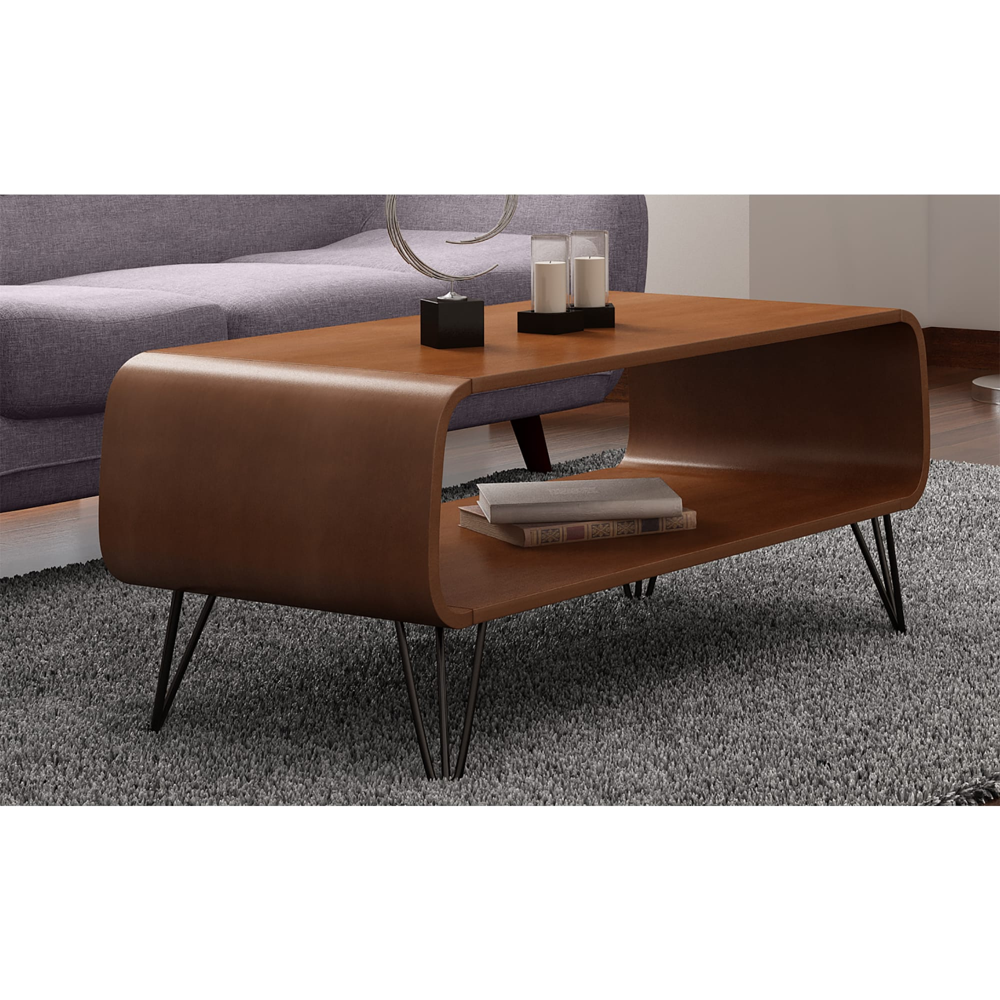 Low Mid Century Coffee Table For Living Room With Storage