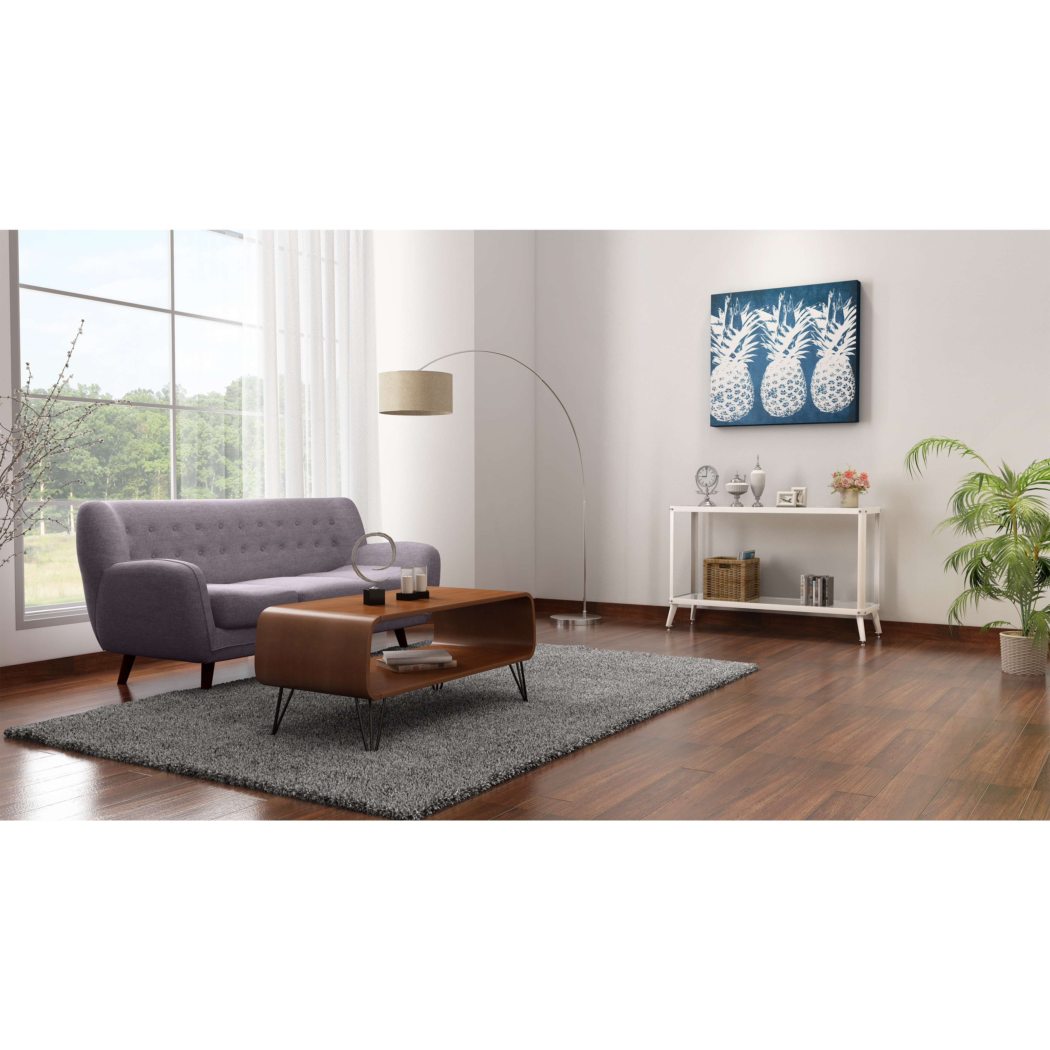 Mid Century Modern Coffee Table With Storage: Low Mid Century Coffee Table For Living Room With Storage