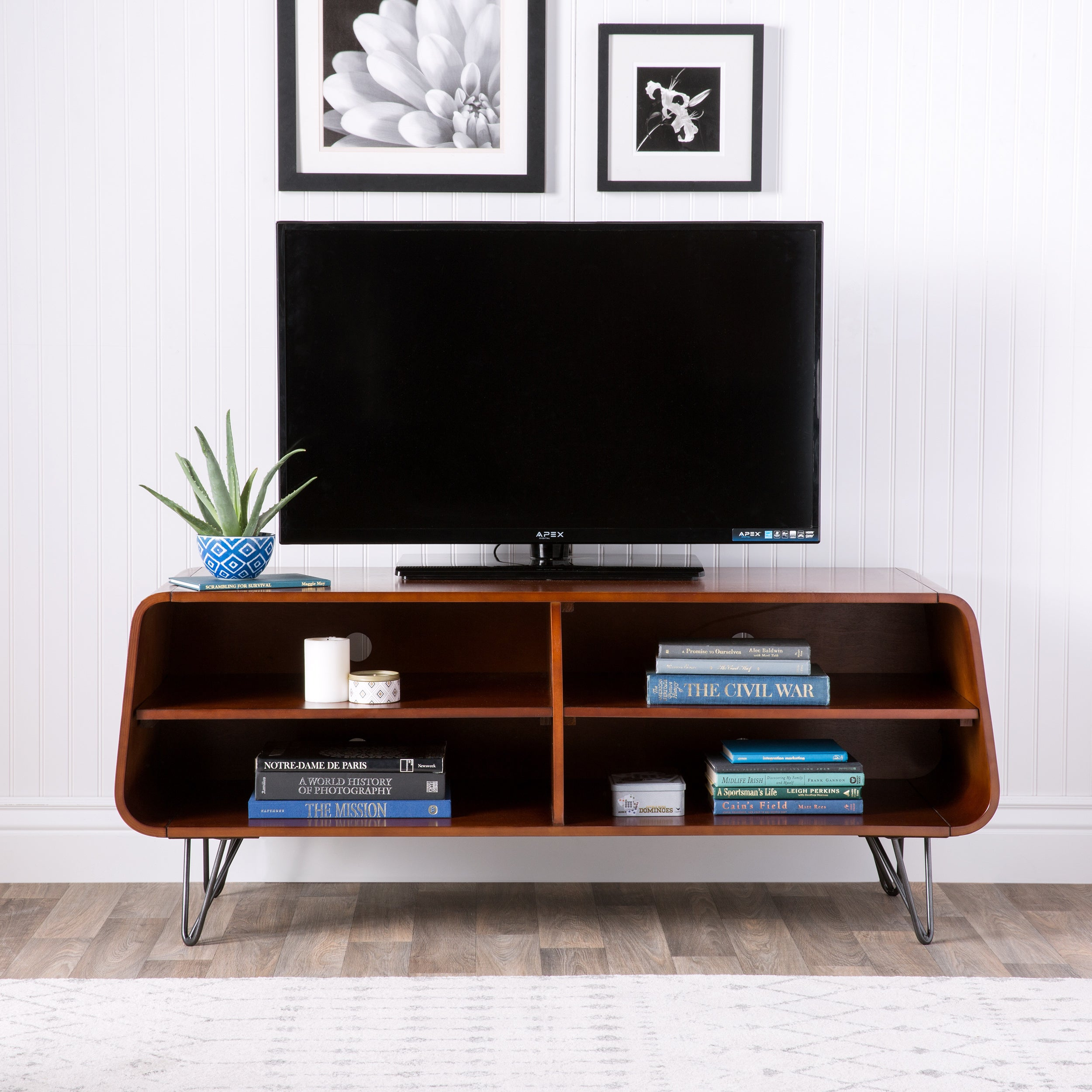 TV Stand Mid Century Modern Media Center Entertainment Unit LED ...