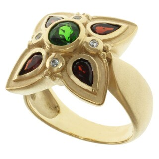 Michael Valitutti Chrome Diopside, Garnet and White Sapphire Ring
