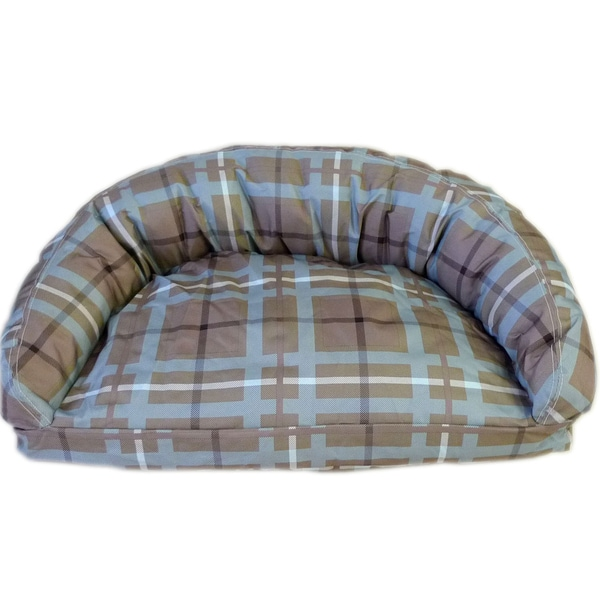 Carolina Pet Brutus Tuff Semi-Circle Brown/ Blue Plaid Pet Bed Lounger