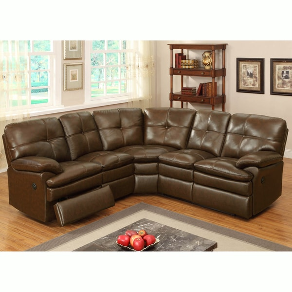 Shop Clarington Brown Italian Leather Motorized Reclining