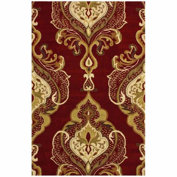 nuLOOM Handmade Royal Damask Red Wool Rug