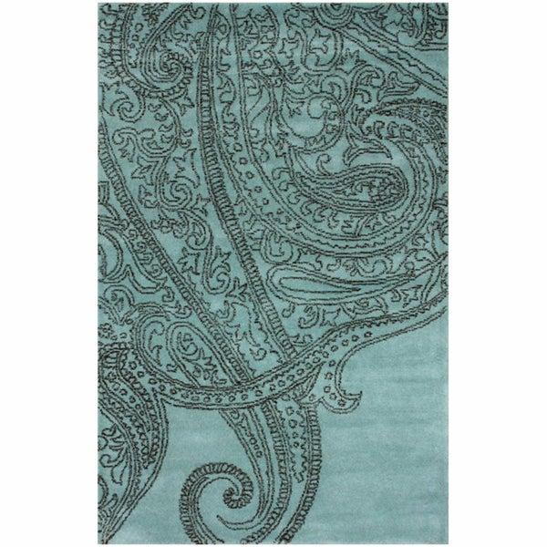 nuLOOM Handmade Paisley Blue / Grey Wool Rug