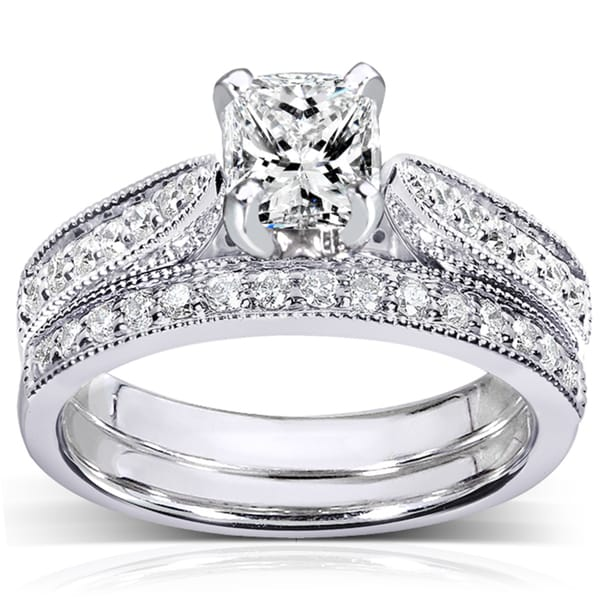 Annello by Kobelli 14k White Gold 1 1/3ct TDW Certified Diamond Bridal Rings Set (G, VS2)