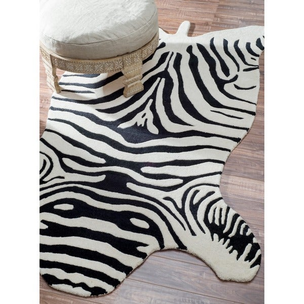 Shop NuLOOM Hand-tufted Animal Shape Zebra Black Wool Rug