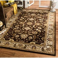 Safavieh Handmade Royalty Chocolate Brown/ Beige Wool Rug