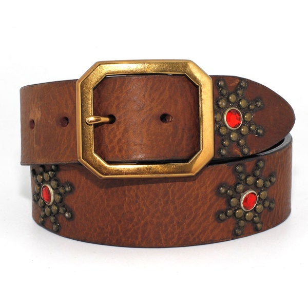 Toneka Red Jewel Flower Men's Tan Faux-leather Belt