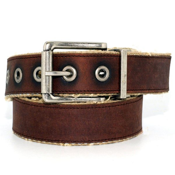 Toneka Men's Brown Faux-leather Belt
