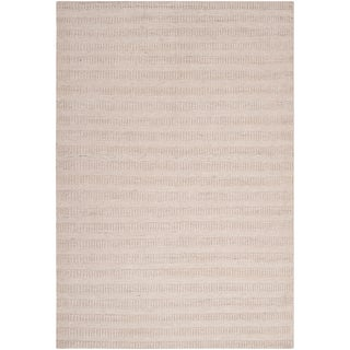 Hand-crafted Solid Talty Antique White Wool Rug