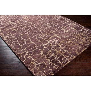 Hand-tufted Tacoma Sepia Abstract Wool Rug
