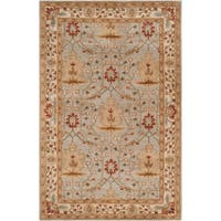 Hand-tufted Stanwood Grey Traditional Bordered New Zealand Wool Area Rug