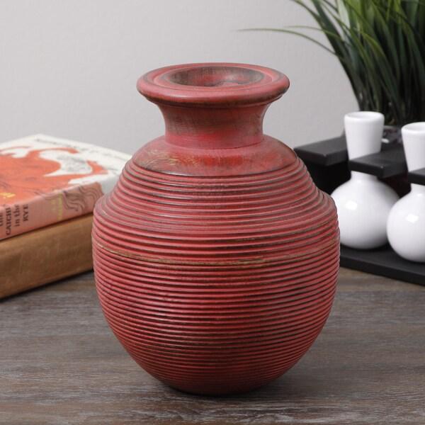 Antique Red Spiral Wood Vase (India)