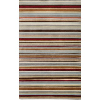Hand-knotted Union Stripe Wool Rug (9' x 13')