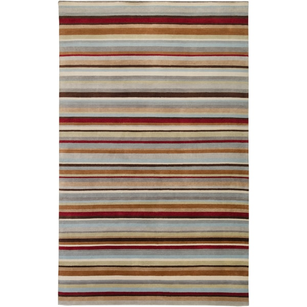 Hand-knotted Union Stripe Wool Area Rug (9' x 13') - 9' x 13'