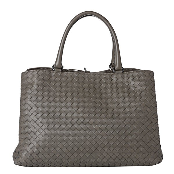 Bottega Veneta Grey Woven Leather Dual-compartment Tote Bag