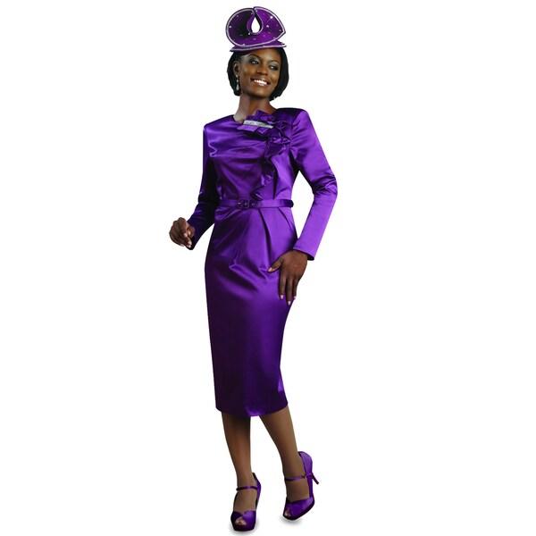 Lisa Rene Women's Purple Belted Dress