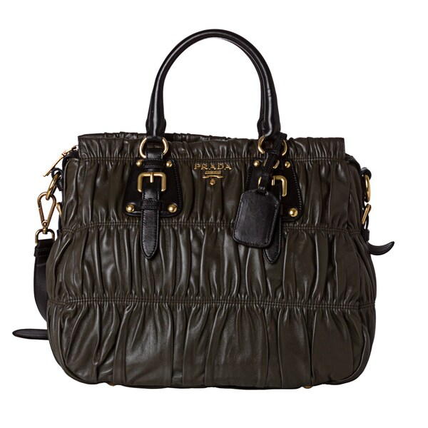 Prada 'Gaufre' Olive Large Nappa Leather Tote Bag