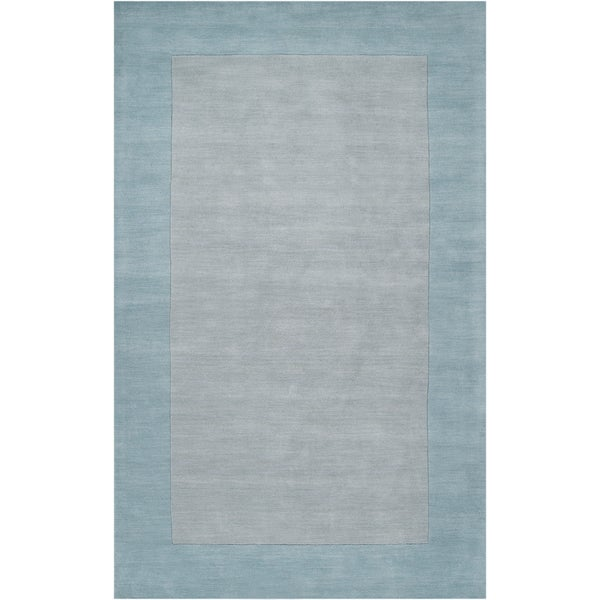 Hand-crafted Light Blue Tone-On-Tone Bordered Brenham Wool Rug (2' x 3')