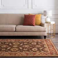 Hand-tufted Sand Brown Floral Border Wool Area Rug - 2' x 4'