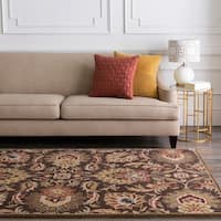 Hand-tufted Sarita Chocolate Brown Floral Wool Area Rug - 2' x 4' hearth