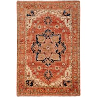 Hand-knotted Adame Rust Wool Area Rug - 2' x 3'