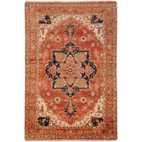 Hand-knotted Adame Rust Wool Area Rug (2' x 3')