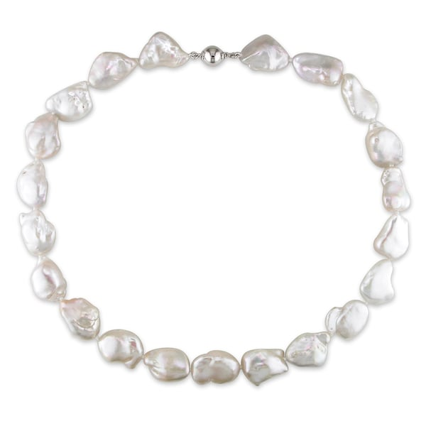 Miadora White Keshi Cultured Freshwater Pearl Necklace with Silver Ball Clasp (13-15 mm)