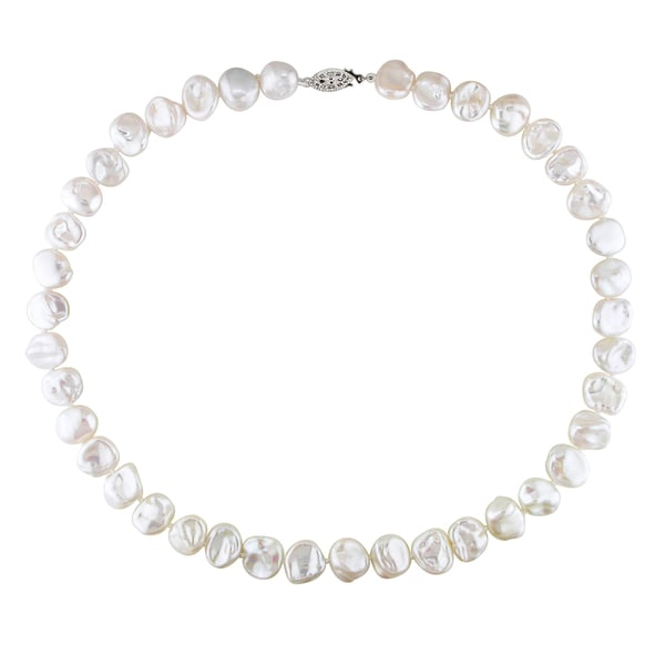 Miadora White Keshi Cultured Freshwater Pearl Necklace with Silver Fisheye Clasp (11-12 mm)