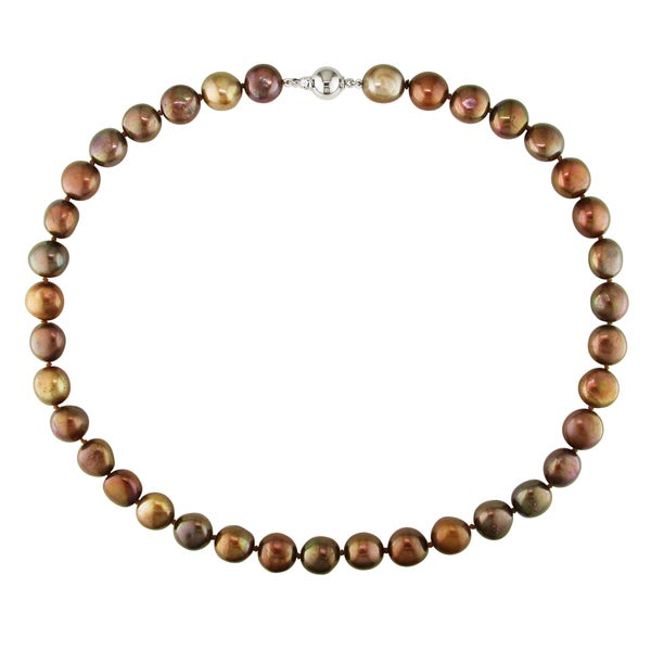 Miadora Brown Cultured Freshwater Pearl Necklace with Silver Ball Clasp (9-10 mm)
