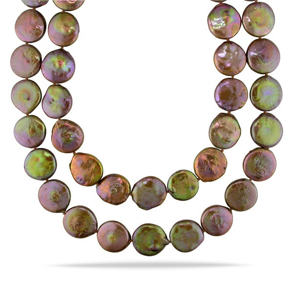 Miadora Brown Cultured Freshwater Pearl Endless Necklace (16-17 mm)