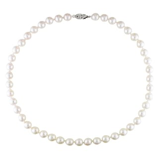 Miadora Freshwater White Cultured Akoya Pearl Strand Necklace (7-8 mm)