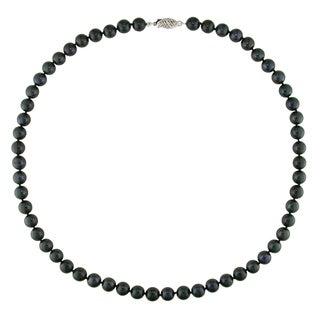 Miadora Black Cultured Akoya Pearl Necklace (6-6.5 mm)