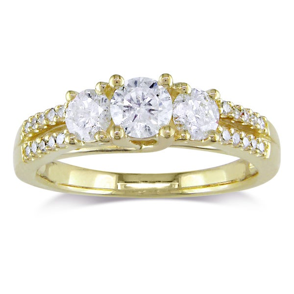 Miadora Signature Collection 10k Yellow Gold 1ct TDW Diamond Ring (H-I, I2-I3)