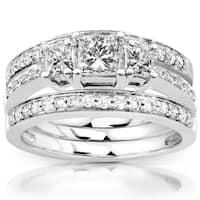 Annello by Kobelli 14k White Gold 1 1/3ct TDW Diamond 3-Ring Bridal Set