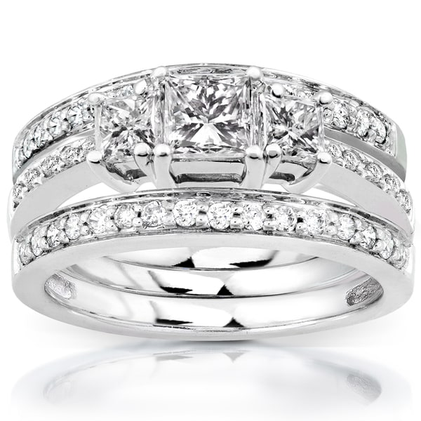 Annello by Kobelli 14k White Gold 1 1/3ct TDW Diamond 3-Ring Bridal Set (H-I, I1-I2)