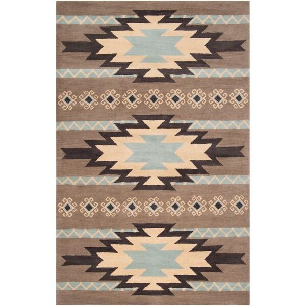 Dick Idol Hand-tufted Grey/Blue Southwestern Aztec Berthong Wool Rug (5' x 8')