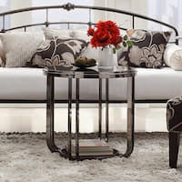 Edison Black Nickel Plated Modern Glass Top Round End Table by iNSPIRE Q Bold