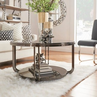 Link to Edison Black Nickel Plated Castered Modern Round Coffee Table by iNSPIRE Q Bold Similar Items in Living Room Furniture