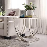 Anson Steel Brushed Arch Curved Sculptural Modern End Table by iNSPIRE Q Bold