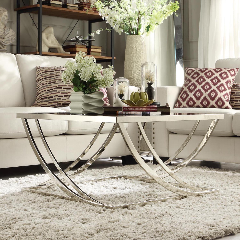 Curved Edge Glass Coffee Table: Chrome Black Glass Coffee Table Steel Arch Curved Modern