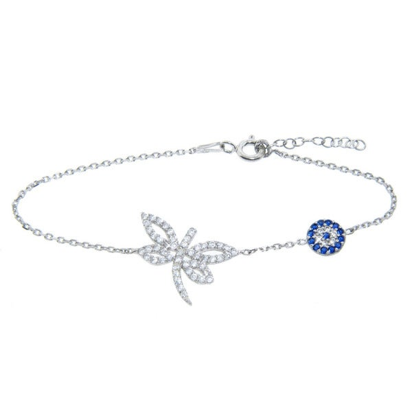 Eternally Haute Sterling Silver CZ Turkish Evil Eye and Dragonfly Bracelet