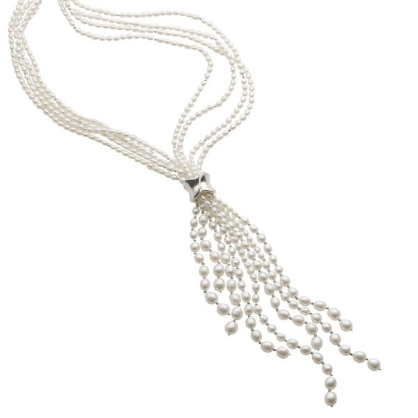 Pearls For You Sterling Silver White FW Pearl Lariat Necklace (3.4-7.5 mm)