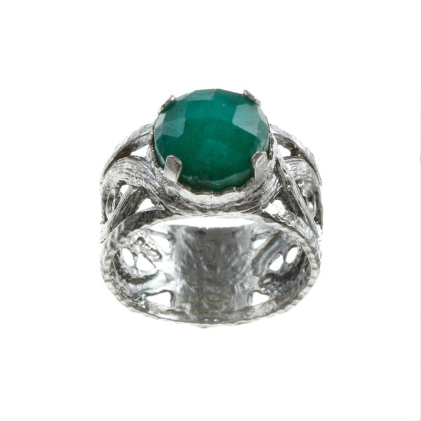 Sterling Silver Dyed Emerald Infinity Shank Ring