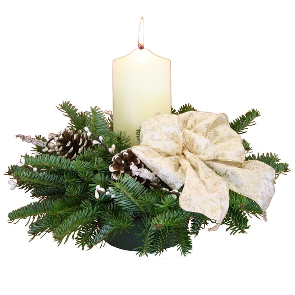 Winter Elegance Pillar Candle Maine Balsam Centerpiece